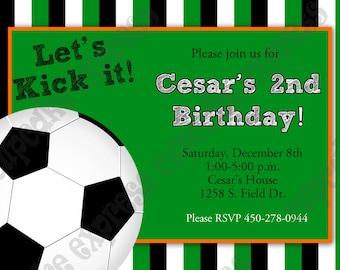DIY SOCCER  Birthday Party  PRINTABLE Invitation 5x7  green orange  -Cupcake express ball