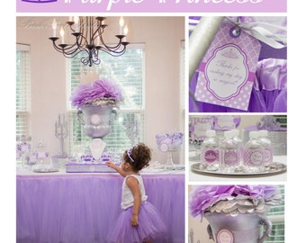 Sofia the first birthday inspired Purple Princess Birthday Party decorations DIY PRINTABLE Deluxe Package crown purple first birthday girl