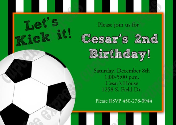 Items similar to diy soccer birthday party printable invitation 5x7 items similar to diy soccer birthday party printable invitation 5x7 green orange cupcake express ball on etsy filmwisefo Image collections