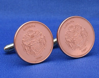 Guyana Coin Cufflinks Coat of Arms 5 Dollars