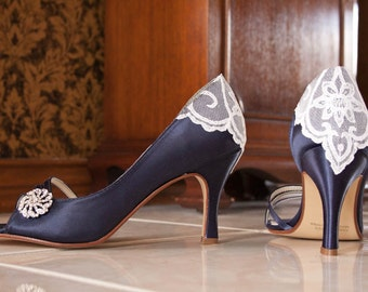 Wedding shoes peep toe open toe low heel short heel high heel bridal shoes embellished with a vintage lace handkerchief and crystal brooch