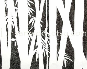 "Original Drawing ""Bamboo"" 14x17"" pen and ink OOAK"