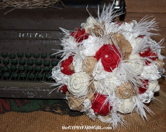 Fabric Bouquet, Red, Tan, and White Burlap Roses, Lace, Feathers, Bridal Wedding Bouquet and Boutonniere, Rustic, Vintage Wedding Flowers