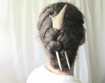 Elk Hair Fork Comb -ACUTUS- Antler Bone Horn Hair Stick Unusual Accessory