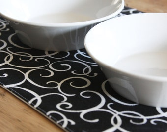 Pet Placemat - Black with White Squiggles in Small Size