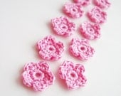 Crochet Flower Appliques, Tiny Small Cute Flowers, Decorative Motifs, Light Pale Pink, Set of 10, Embellishments, Scrapbooking
