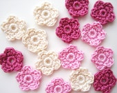 Crochet Flower Appliques, Tiny Small Flowers, Multi Colored, Vintage Pink, Ivory & Light Pale Pink, Set of 15, Embellishments, Scrapbooking