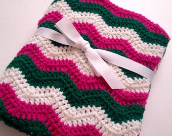 Crochet baby blanket pink green white ripple chevron blanket photo prop
