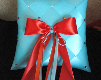 Ring Bearer Pillow, Turquoise, Aqua Blue, Orange, Wedding, Ring Pillow, Pillow, Custom made to your Colors with Swarovski Crystals
