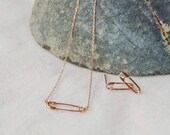 rose gold safety pin necklace, rose gold safety pin earrings