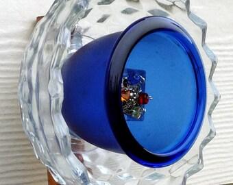 Glass garden art, glass flower, suncatcher, plant stake, glass sculpture, garden ornament, blue glass 35% OFF