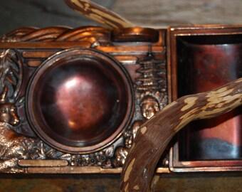 1960's Japanese Import Cigarette Holder Ashtray Tray Spelter / Pot Metal Bronzed Finish
