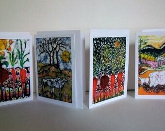 Farm and Garden cards  -   Sheep, Cows, Vegetables, Sun, Rain -  4 blank art cards