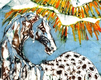 "Appaloosa in Summer Grasses - 16"" x 20""  fabric swatch from original batik  Quilting"