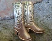 Brass Cowboy Boot Belt Buckle