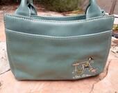 Aqua Leather Vintage Ladies Tea Time Purse