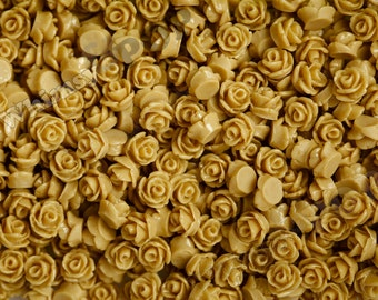 7.5mm - Latte Brown Teeny Tiny Rose Resin Cabochons, Tiny Flower Cabochons, Flower Cabs, Tiny Flatback Roses, 7.5mm  (R3-047)