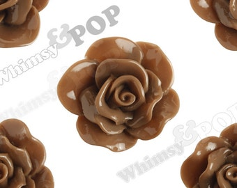 Large Chocolate Brown Rose Cabochons, Flower Cabochons, Rose Flatback, 30mm x 28mm (R3-060)