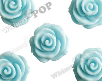 23mm - Large Aqua Blue Rose Cabochons, Flower Cabochons, Rose Shaped, Chunky Rose Flatbacks, 23mm Rose Cabochons (R5-007)