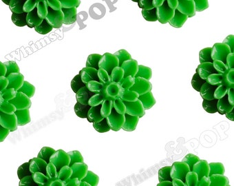 15mm - Green Chrysanthemum Flower Cabochons, Flower Cabs, Dahlia Flatbacks, Mum Shaped, Flat Back Mums, Glue On Flowers (R3-108)