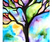 "MADE-TO-ORDER Watercolor Painting, Tree Silhouette, Colorful Rainbow Hues, 9""x12"""