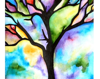 "MADE-TO-ORDER Watercolor Painting, Tree Silhouette, Colorful Rainbow Hues, 8""x10"""