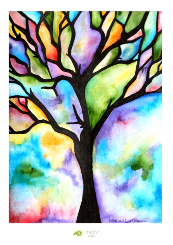 Original Watercolor Painting Tree Silhouette by limefishshop - photo#17