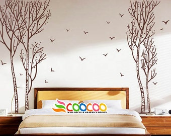 Wall Decal, wall Stickers ,Tree Wall Decals ,Wall decals, Removable, Tree and Birds, Twin trees, dc0238