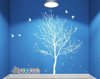 Wall Decal, wall Stickers ,Tree Wall Decals ,Wall decals, Removable, Tree and Birds, lonely tree, dc0288