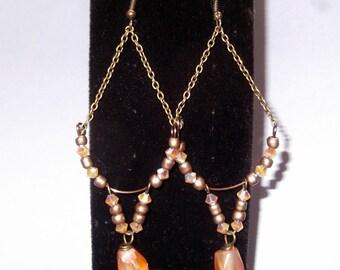 Lovely Carnelian and Swarovski Dangle Earrings