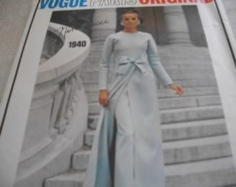 Vogue Designer Dress Pattern 1940