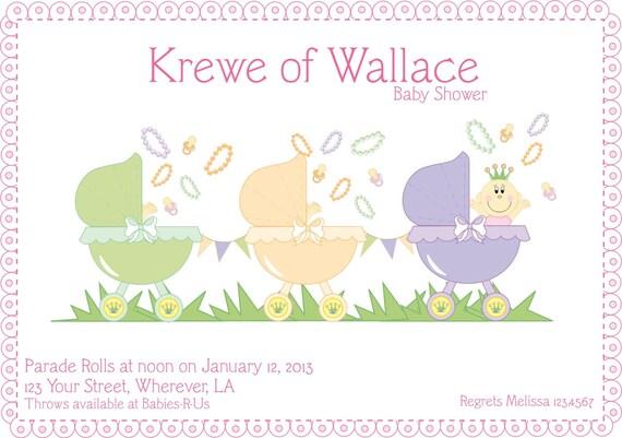 mardi gras baby shower invitation