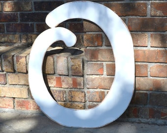 """24"""" Wooden Letter O, Distressed White, Elegant Font - all letters available in many colors"""