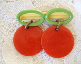 Vintage Yellow Green Red Circular Bar Brooch Pin
