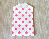 Pink Polka Dot Favor  Bags wedding favor bags Candy buffet bags, polka dot mini bags baby shower bags