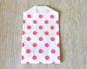 Pink Polka Dot Favor  Bags wedding favor bags Candy buffet bags, polka dot mini bags baby shower bags