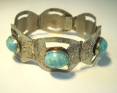 Vintage Silver and Turquoise Panel Bracelet BR5443