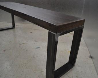 Reclaimed Oak Bench - Industrial Steel Legs / Stained Oak