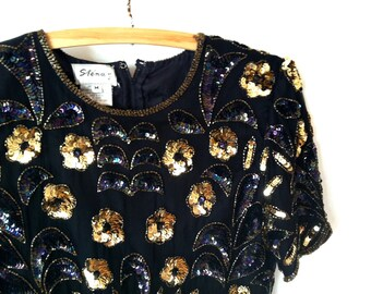 80's Sequin and Beaded Flapper Blouse