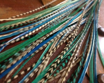 """Hair Feather Extensions Barred Grey Blue Turquoise Grizzly 12pcs Long Rooster Feathers, Beach Feather Hair Extensions 8-12"""" Bird Feathers"""