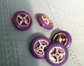 five purple buttons plastic purple and silver colours nautical buttons boat steering wheel