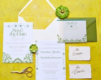 Delicate Victorian Wedding Invitation Suite Design ------- Deposit to get started