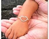 Gold Heart Bangle, Little Girl, Baby Shower, Baby Luau, Love Sweetheart Gift for Her, Valentine's Day Gift Idea For Girls, Handmade Maui