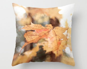 Decorative Photo Throw Pillow Cover Rust Amber Leaf Autumn Nature Home Decor 18x18 Gift for Mom Gift for Her Gift for Him