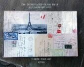 Carte Postale Decoupaged Glass Tray
