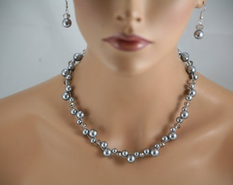 pearl and crystal necklace you pick color- wedding jewelry, bridesmaids necklace, bridal jewelry,