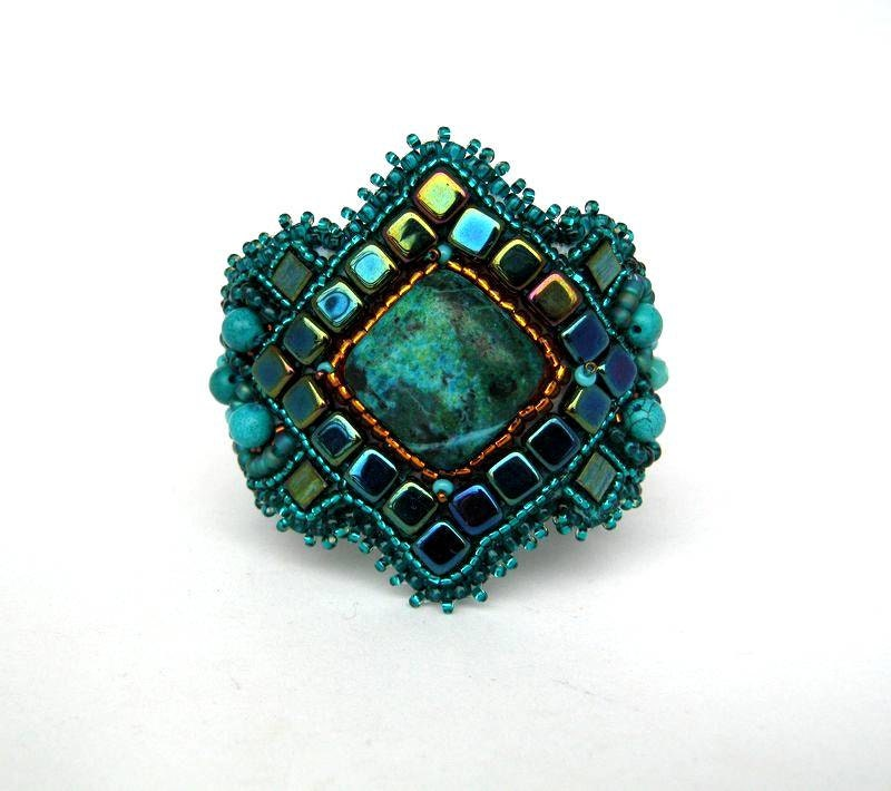 Embroidered Beads: Bead Embroidery Bracelet Beaded Jewelry Teal Emerald Green