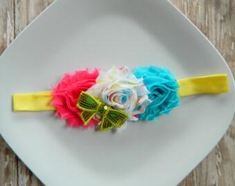 Rainbow Polka Dot Headband- new, babies, girls, photo prop, summer