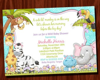 Monkey Jungle Baby Shower Invitation Printable Digital File