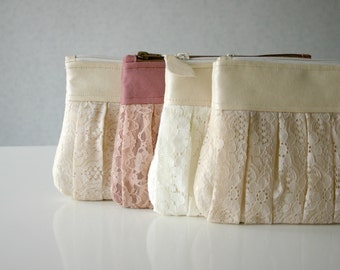 4 Romantic Bridesmaid lace clutch Ruched bags Pleated lace Pearl effect leather Bridesmaids gifts